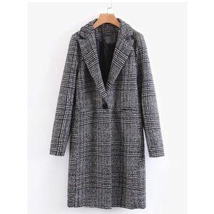 SHEIN Single Button Plaid Reefer Coat